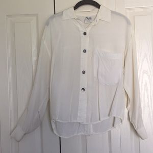 Vintage silky button down white blouse